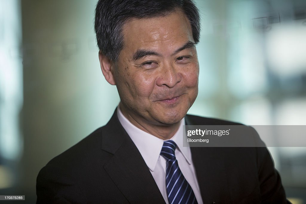 <a gi-track='captionPersonalityLinkClicked' href=/galleries/search?phrase=Leung+Chun-ying&family=editorial&specificpeople=2496883 ng-click='$event.stopPropagation()'>Leung Chun-ying</a>, Hong Kong's chief executive, speaks during an interview in New York, U.S., on Wednesday, June 12, 2013. Leung, currently on an official visit to New York, declined to answer questions by reporters about how his government would handle the case of Edward Snowden, the 29-year-old U.S. contractor who says he leaked details of an electronic surveillance program. Snowden may be seeking legal help in Hong Kong after checking out of a hotel in the Chinese city on Monday. Photographer: Scott Eells/Bloomberg via Getty Images