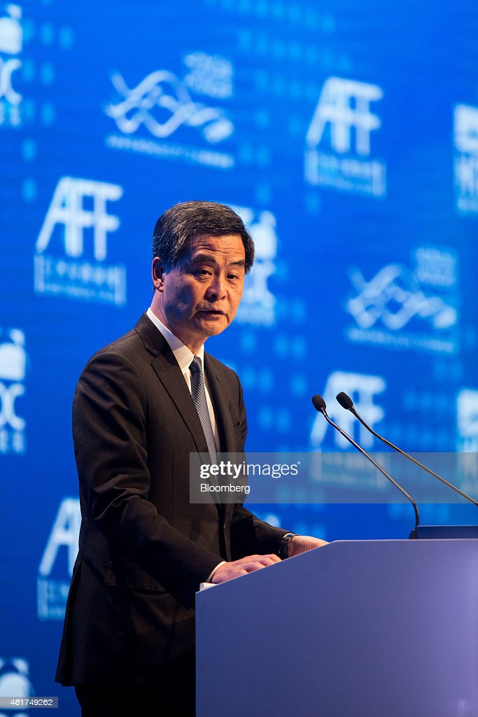 Leung Chun-ying, Hong Kong's chief executive, speaks during the Hong Kong Asian Financial Forum (AFF) in Hong Kong, China, on Monday, Jan. 19, 2015. The Asian Financial Forum runs through Jan. 20. Photographer: Jerome Favre/Bloomberg via Getty Images
