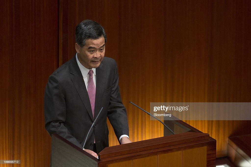 <a gi-track='captionPersonalityLinkClicked' href=/galleries/search?phrase=Leung+Chun-ying&family=editorial&specificpeople=2496883 ng-click='$event.stopPropagation()'>Leung Chun-ying</a>, Hong Kong's chief executive, speaks in the chamber of the Legislative Council in Hong Kong, China, on Wednesday, Jan. 16, 2013. Hong Kong will maintain property curbs for overseas buyers as it seeks to meet the housing needs of its people, Leung said in his first policy address today. Photographer: Jerome Favre/Bloomberg via Getty Images