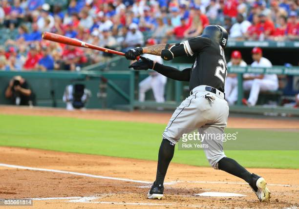 Leury Garcia of the Chicago White Sox hits a one run single in the first inning at Globe Life Park in Arlington on August 19 2017 in Arlington Texas