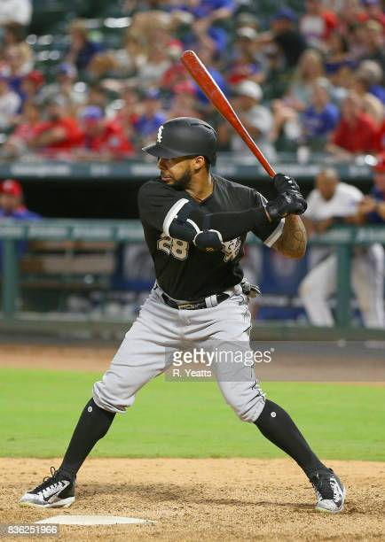 Leury Garcia of the Chicago White Sox hits in the ninth inning against the Texas Rangers at Globe Life Park in Arlington on August 19 2017 in...