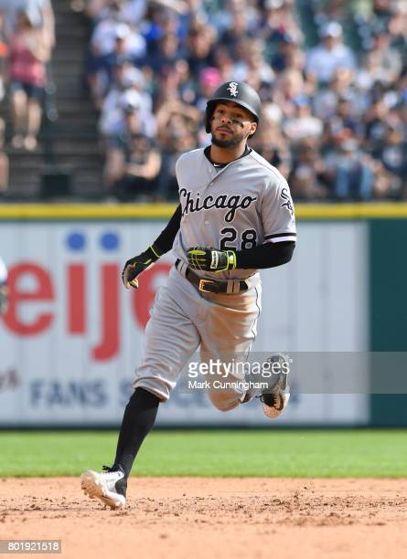 Leury Garcia of the Chicago White Sox runs the bases during the game against the Detroit Tigers at Comerica Park on June 3 2017 in Detroit Michigan...