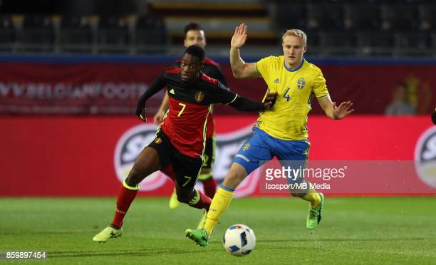 20171006 Leuven Belgium / Uefa U21 Euro 2019 Qualifying Group 5 Belgium v Sweden / 'nIsaac MBENZA Franz BRORSSON'nPicture by Vincent Van Doornick /...