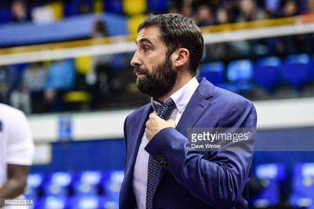 Levallois coach Frederic Fauthoux during the EuropCup match between Levallois Metropolitans and Darussafaka Istanbul at Salle Marcel Cerdan on...