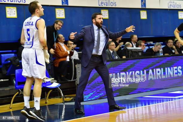 Levallois coach Frederic Fauthoux during the EuropCup match between Levallois Metropolitans and Cedevita Zagreb at Salle Marcel Cerdan on November 8...