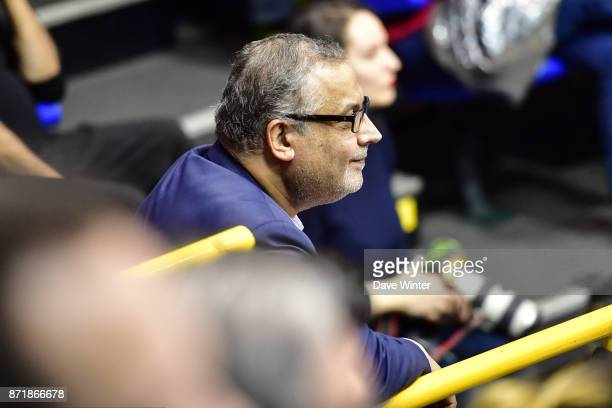 Levallois president Jean Pierre Aubry during the EuropCup match between Levallois Metropolitans and Cedevita Zagreb at Salle Marcel Cerdan on...