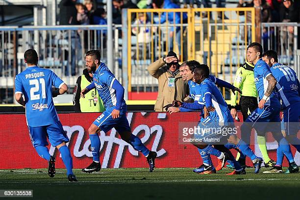 Levan Mchedlidze of Empoli FC celebrates after scoring a goal during the Serie A match between Empoli FC and Cagliari Calcio at Stadio Carlo...
