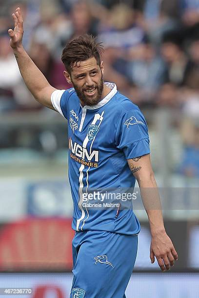 Levan Mchedlidze of Empoli FC reacts during the Serie A match between Empoli FC and US Sassuolo Calcio at Stadio Carlo Castellani on March 22 2015 in...
