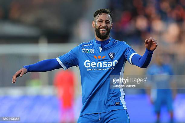 Levan Mchedlidze of Empoli FC reacts during the Serie A match between Empoli FC and Cagliari Calcio at Stadio Carlo Castellani on December 17 2016 in...