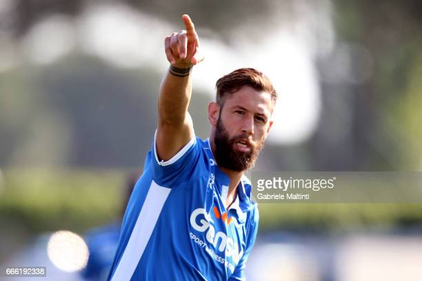 Levan Mchedlidze of Empoli Fc reacts during the Serie A match between Empoli FC and Pescara Calcio at Stadio Carlo Castellani on April 8 2017 in...
