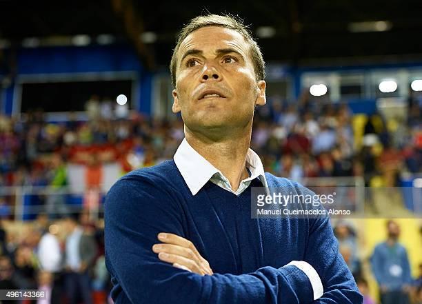 Levante UD manager Joan Francesc Ferrer Sicilia ' Rubi ' looks on prior to the La Liga match between Levante UD and RC Deportivo de La Coruna at...