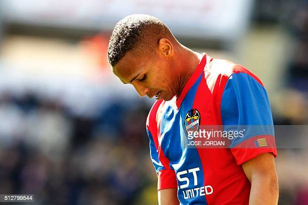 Levante's Brazilian forward Deyverson Brum Silva reacts after missing an attempt on goal during the Spanish league football match Villarreal CF vs...