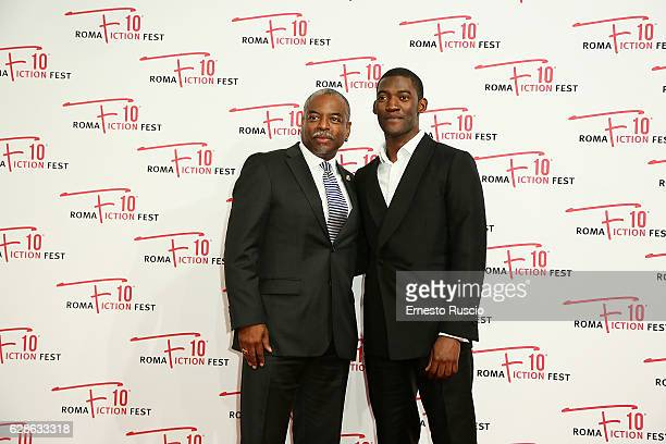 LeVar Burton and Malachi Kirby attend the 'Roots' red carpet during the Roma Fiction Fest 2016 at The Space Moderno on December 8 2016 in Rome Italy