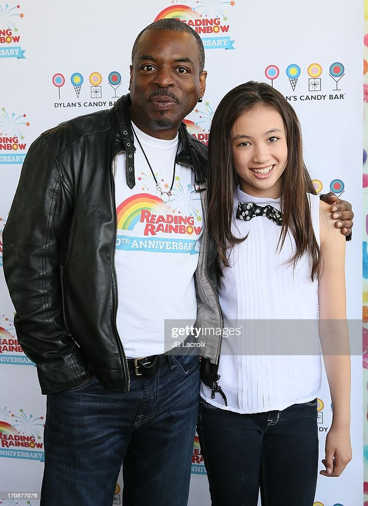 <a gi-track='captionPersonalityLinkClicked' href=/galleries/search?phrase=LeVar+Burton&family=editorial&specificpeople=241259 ng-click='$event.stopPropagation()'>LeVar Burton</a> and Malia Tyler appear at Dylan's Candy Bar on June 14, 2013 in Los Angeles, California.