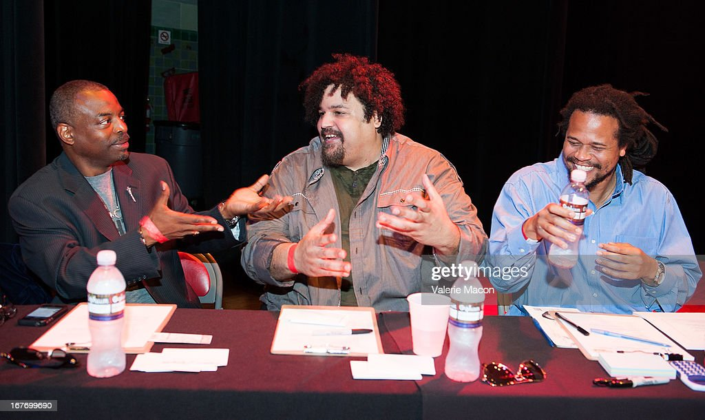 LeVar Burton, Jerry Quickley and Seith Mann attend Get Lit Presents The 2nd Annual Classic Slam at Orpheum Theatre on April 27, 2013 in Los Angeles, California.
