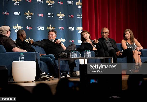 LeVar Burton Jonathan Frakes Gates McFadden Michael Dorn and Marina Sirtis attend 'Engaging the universe The Star Trek The Next Generation cast...
