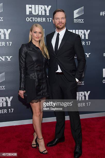 Leven Rambin and Jim Parrack attend the 'Fury' Washington DC Premiere at The Newseum on October 15 2014 in Washington DC