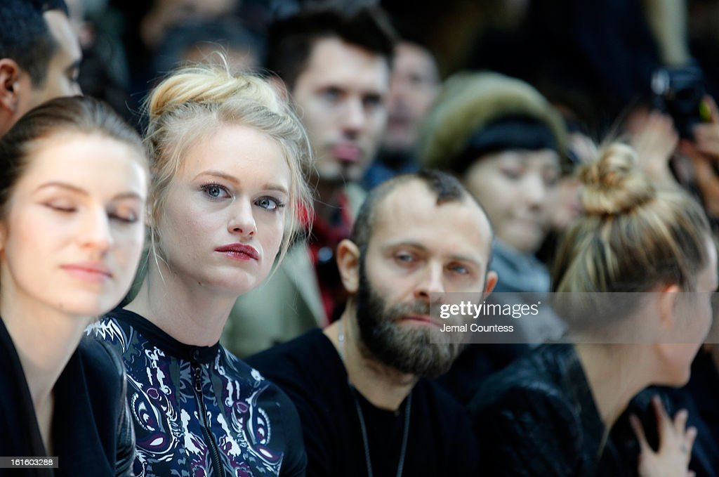 Leven Rambin and Stefano Rosso attend the Diesel Black Gold Fall 2013 fashion show during Mercedes-Benz Fashion Week at Pier 57 on February 12, 2013 in New York City.