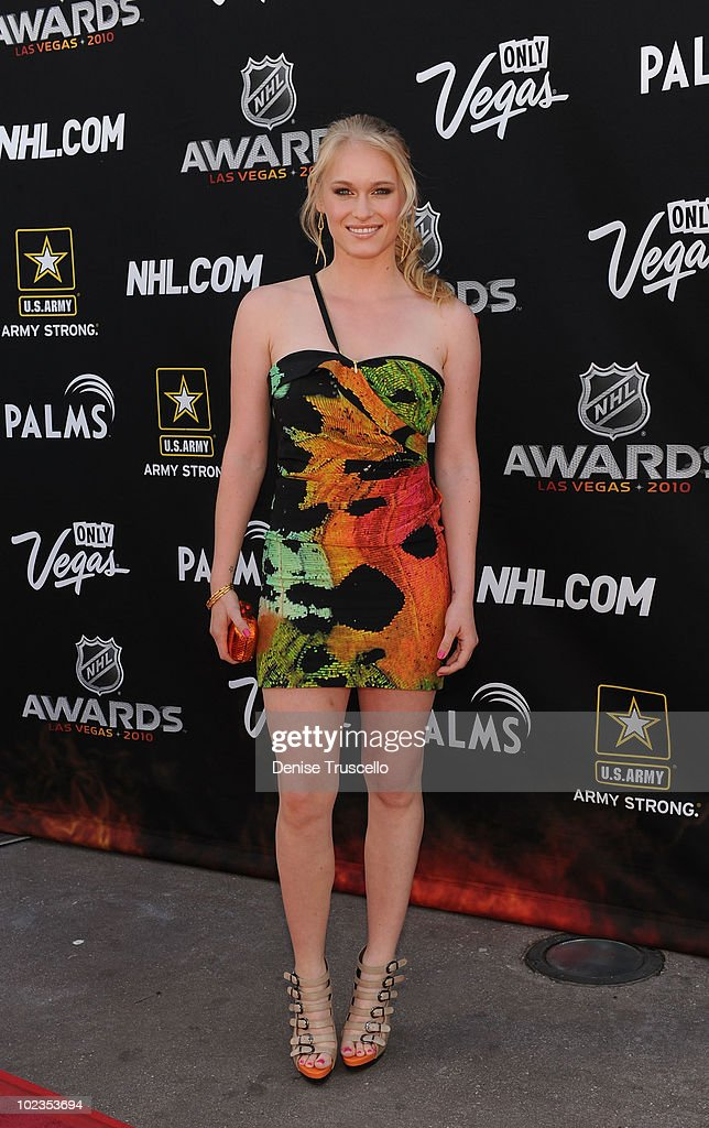 Leven Rambin arrives at the 2010 NHL Awards at The Palms Casino Resort on June 23, 2010 in Las Vegas, Nevada.