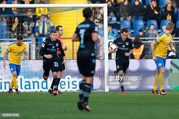 Levent Aycicek and Michael Liendl of Muenchen after the 12 for Muenchen during the Second Bundesliga match between Eintracht Braunschweig and TSV...