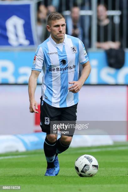 Levent Aycicek of 1860 Munich controls the ball during the Second Bundesliga match between TSV 1860 Muenchen and VfL Bochum at Allianz Arena on May...