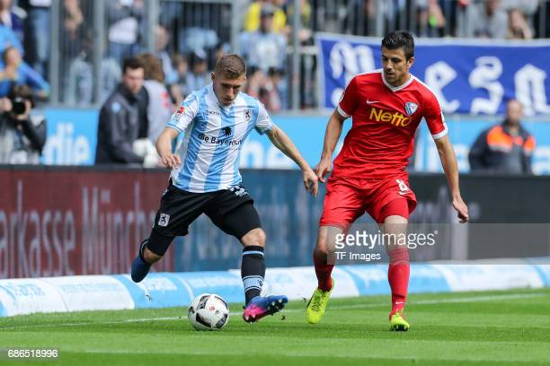 Levent Aycicek of 1860 Munich und Anthony Losilla of Bochum battle for the ball during the Second Bundesliga match between TSV 1860 Muenchen and VfL...
