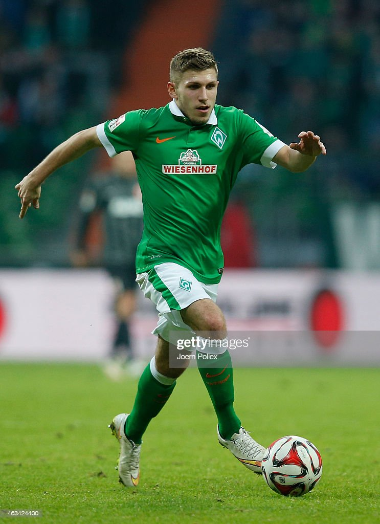 Levent Aycicek of Bremen controls the ball during the Bundesliga match between SV Werder Bremen and FC Augsburg at Weserstadion on February 14, 2015 in Bremen, Germany.