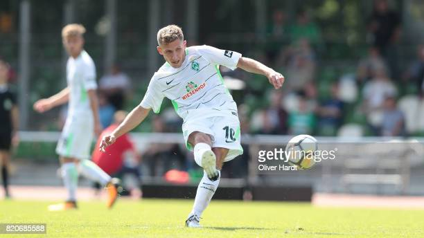 Levent Aycicek of Bremen scores their second goal during the 3 Liga match between SV Werder Bremen II and SpVgg Unterhaching at on July 22 2017 in...