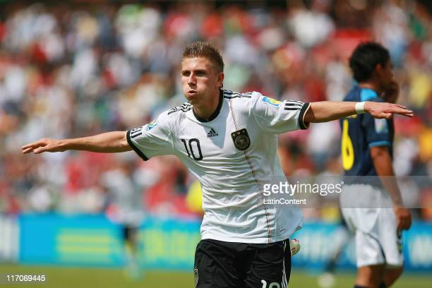 Levent Aycicek of Germany celebrates a scored goal during the FIFA U17 World Cup Mexico 2011 Group E match between Germany and Ecuador at the...