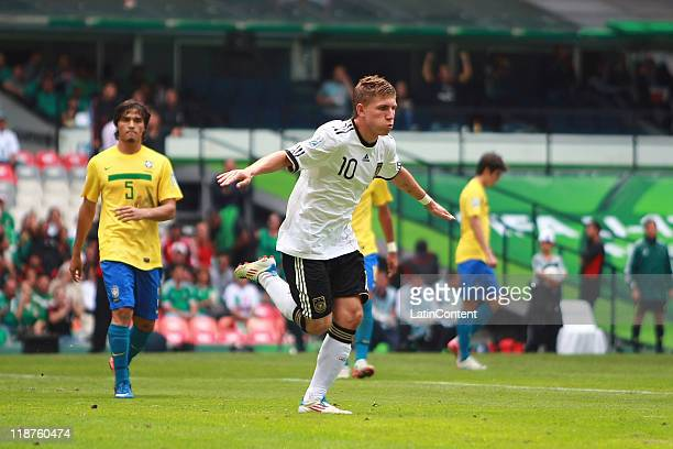 Levent Aycicek of Germany celebrates a scored goal during the FIFA U17 World Cup Mexico 2011 3rd/4th play off match between Brazil and Germany at the...