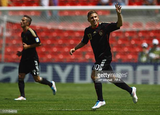 Levent Aycicek of Germany celebrates after scoring during the Group E FIFA U17 World Cup match between Burkina Faso and Germany at the Corregidora...