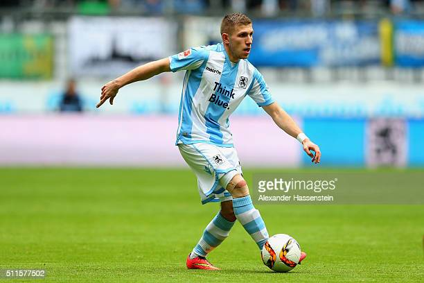 Levent Aycicek of Muenchen runs with the ball during the 2 Bundesliga match between TSV 1860 Muenchen and VfL Bochum at Allianz Arena on February 21...
