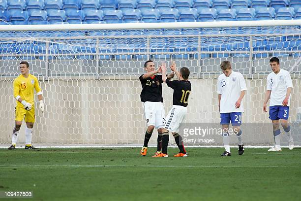 Levent Aycicek of U17 Germany celebrates after scoring during the international friendly match between U17 England and U17 Germany at the Algarve...