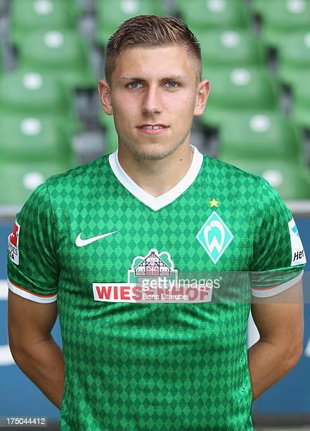 Levent Aycicek of Werder Bremen poses during the Werder Bremen team presentation at Weser stadium on July 29 2013 in Bremen Germany