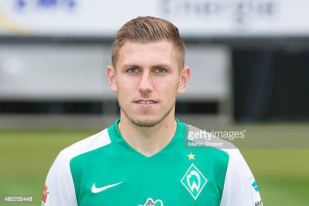 Levent Aycicek poses during the official team presentation of Werder Bremen at Weserstadion on July 10 2015 in Bremen Germany