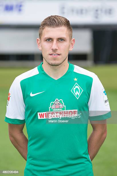 Levent Aycicek poses during the official team presentation of Werder Bremen at Weserstadion on July 10 2015 in Bremen Germany