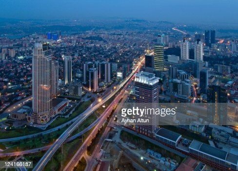 Levent financial district in Istanbul : Stock Photo