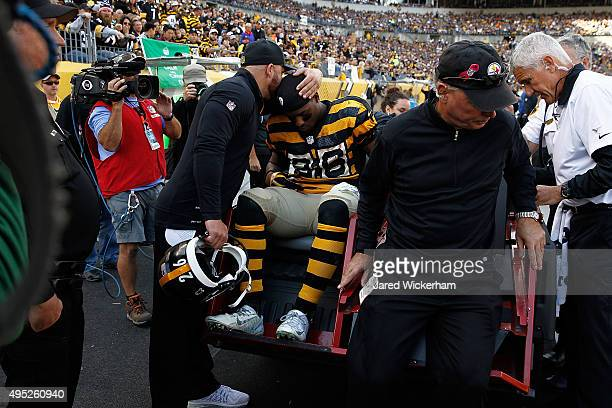 Le'Veon Bell of the Pittsburgh Steelers is carted off of the field after being injured in the 2nd quarter of the game against the Cincinnati Bengals...