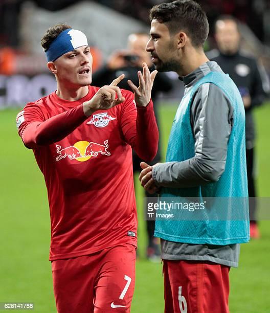 Leverkusen Germany 1 Bundesliga 11 Spieltag Bayer 04 Leverkusen RB Leipzig Marcel Sabitzer mit Rani Khedira nach dem Spiel