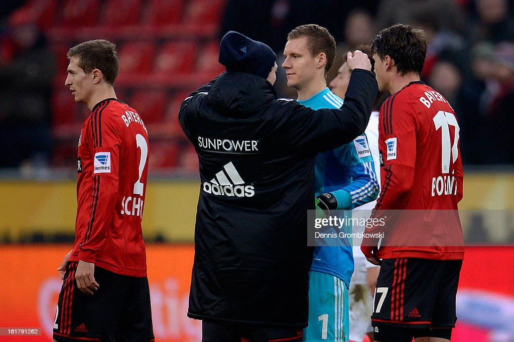 Leverkusen players hug after the Bundesliga match between Bayer 04 Leverkusen and FC Augsburg at BayArena on February 16, 2013 in Leverkusen, Germany.