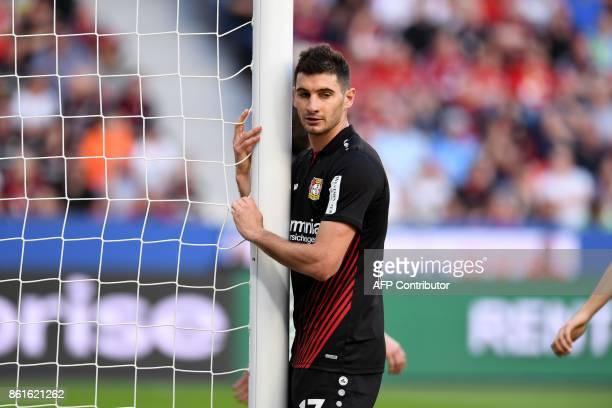 Leverkusen´s Argentinian midfielder Lucas Nicolas Alario reacts during the German first division Bundesliga football match Bayer Leverkusen vs VfL...