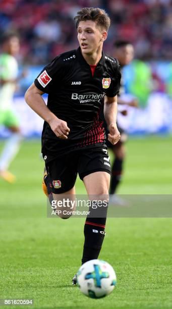 Leverkusen's German midfielder Kai Havertz plays the ball during the German first division Bundesliga football match Bayer Leverkusen vs VfL...