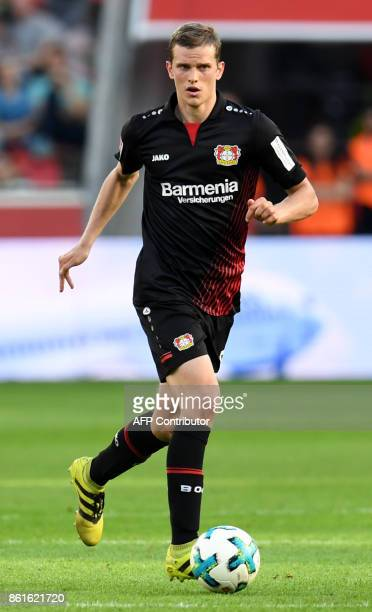 Leverkusen's German midfielder Lars Bender plays the ball during the German first division Bundesliga football match Bayer Leverkusen vs VfL...