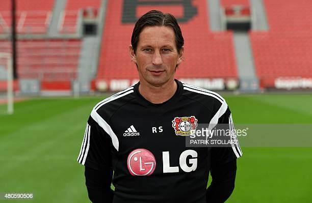 Leverkusen's head coach Roger Schmidt poses during the team presentation of the German first division Bundesliga team Bayer 04 Leverkusen at the...