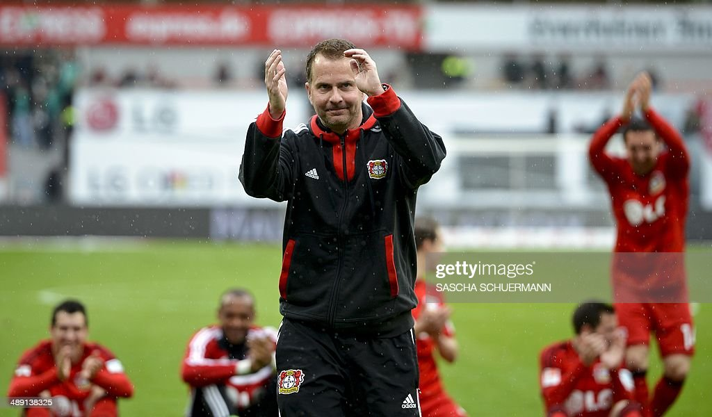 Leverkusen`s head coach <a gi-track='captionPersonalityLinkClicked' href=/galleries/search?phrase=Sascha+Lewandowski&family=editorial&specificpeople=5134760 ng-click='$event.stopPropagation()'>Sascha Lewandowski</a> reacts after the German first division Bundesliga football match Bayer 04 Leverkusen vs SV Werder Bremen, in Leverkusen, western Germany on May 10, 2014. Leverkusen won 2-1.