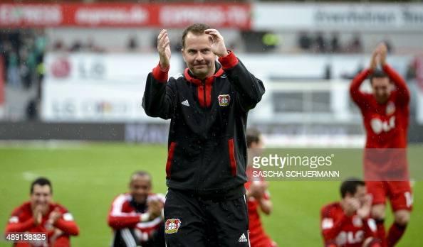 Leverkusen`s head coach Sascha Lewandowski reacts after the German first division Bundesliga football match Bayer 04 Leverkusen vs SV Werder Bremen...