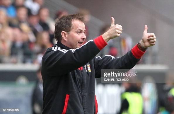 Leverkusen's head coach Sascha Lewandowski reacts during the German first division Bundesliga football match Eintracht Frankfurt vs Bayer Leverkusen...
