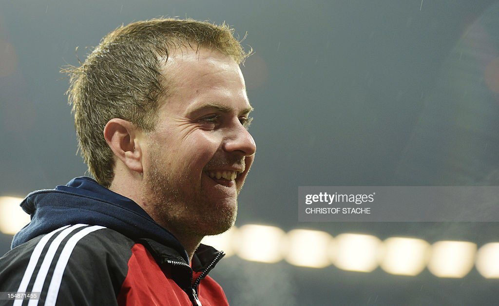 Leverkusen's headcoach <a gi-track='captionPersonalityLinkClicked' href=/galleries/search?phrase=Sascha+Lewandowski&family=editorial&specificpeople=5134760 ng-click='$event.stopPropagation()'>Sascha Lewandowski</a> smiles ahead of the German first division Bundesliga match between FC Bayern Munich and Bayer 04 Leverkusen in the stadium in Munich, southern Germany, on October 28, 2012.