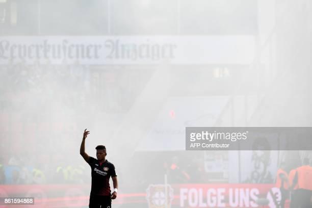 Leverkusen's Jamaican midfielder Leon Bailey reacts during the German first division Bundesliga football match Bayer Leverkusen vs VfL Wolfsburg in...