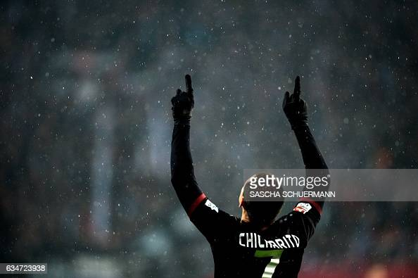 TOPSHOT Leverkusen's Mexican forward Javier Hernandez celebrates scoring the 20 during the German First division Bundesliga football match between...